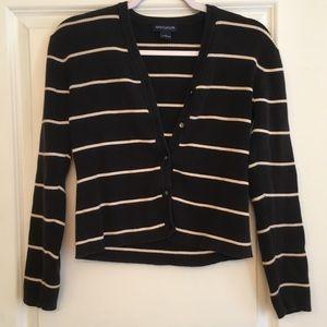 Ann Taylor cropped black&white striped cardigan